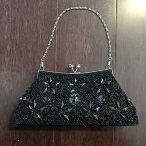 Black Beaded Dress Purse Clutch Removable Straps